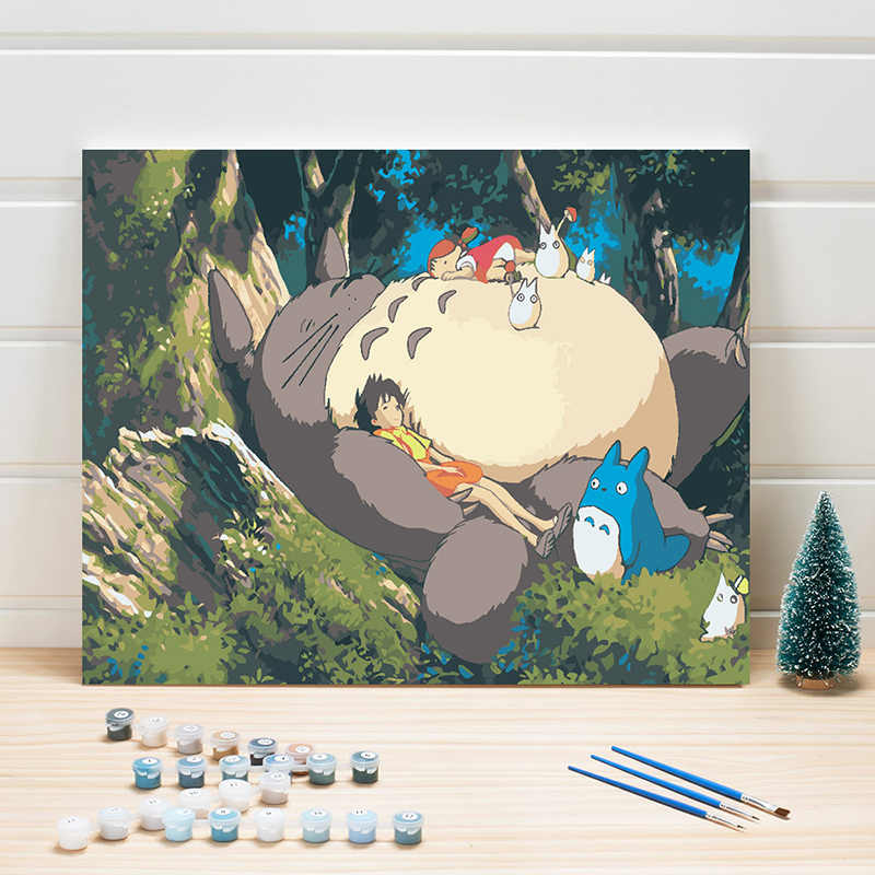 DIY Painting Pictures By Numbers Cartoon Anime Digital Module Coloring On Linen Canvas For Bedroom Kids Room Wall Artwork Crafts