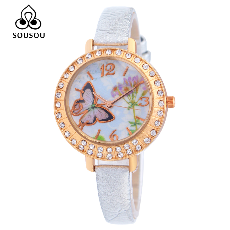 SOUSOU Watch Women Luxury Brand Leather Strap Rhinestone crystal Women Dress Watch butterfly dial Fashion Clock Women's