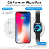 3 in 1 Chargers Wireless Quick Charging Adapter Holder Pad for Apple Samsung Qi Wireless Charger Mobile Phone Watch Headphone