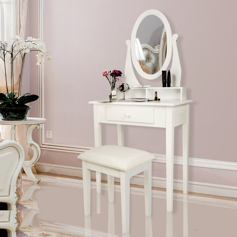 Vanity Set Dressing Table with Cushioned Stool Oval Makeup Mirror Writing Desk 3 Removable Drawers Easy Assemly Vanities