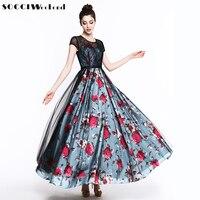 SOCCI Weekend Black Lace Perspective Women Formal Evening Dresses Blue Printed Flowers Backless Party Long Dress Vestido Longo