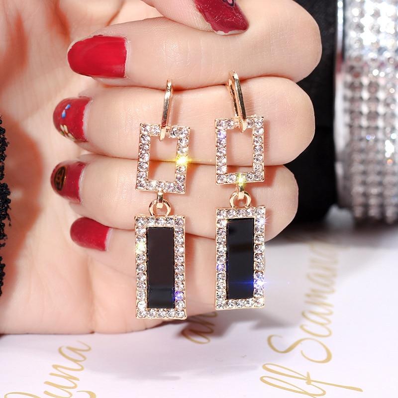 RscvonM ZA bijoux de mode boucles d'oreilles en verre pour les femmes strass brillant balancent des boucles d'oreilles carrées pour les filles accessoires de mariage 1