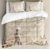 Fishing Net Duvet Cover Set King Size Marine Sea Stars and Shells Underwater Life Wooden Print 4 Piece Bedding Set