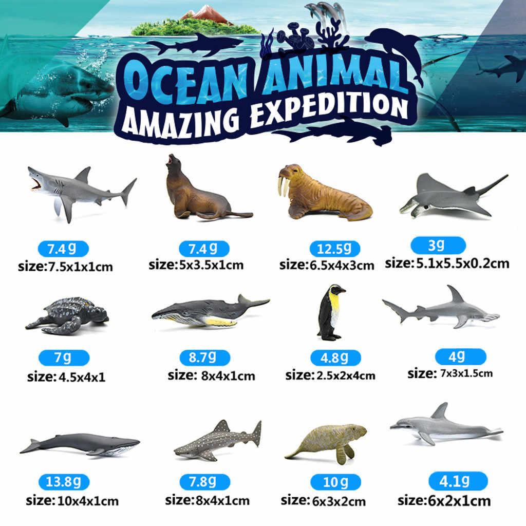 12pcs 6-9cm סימולציה ימי ים העולם Playset כריש לווייתן ילדי מתנה מוקדם חינוכיים פינגווין בעלי חיים צעצועים אריה ים צב