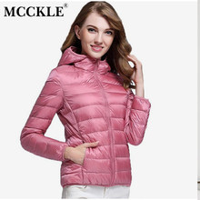 MCCKLE 2018 Autumn Winter Women Ultra Light Down Coats Jacket Plus Size White Duck Jackets Warm Coat Female Casual Hooded Parka(China)