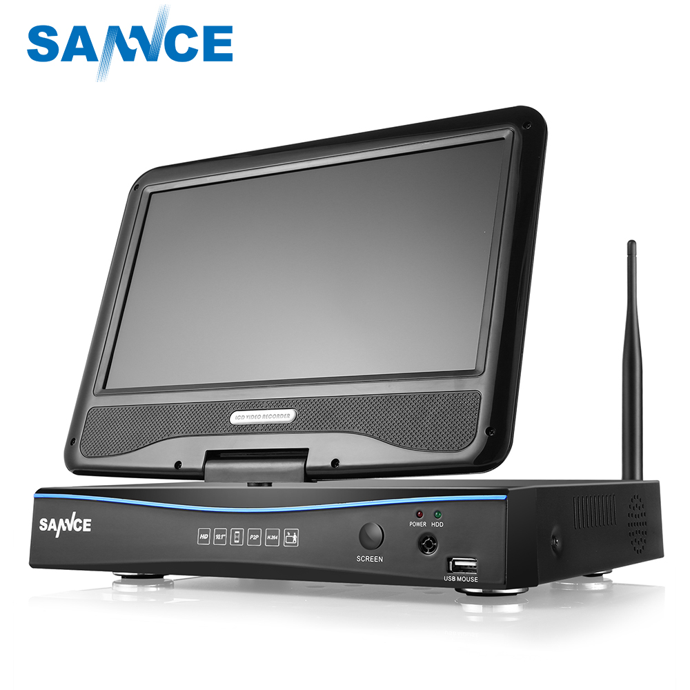 цена на SANNCE 4CH HD Wireless CCTV System 10.1 LCD Displayer 720P 2.4G Wifi NVR HD Outdoor IR CUT IP Camera Home Security System