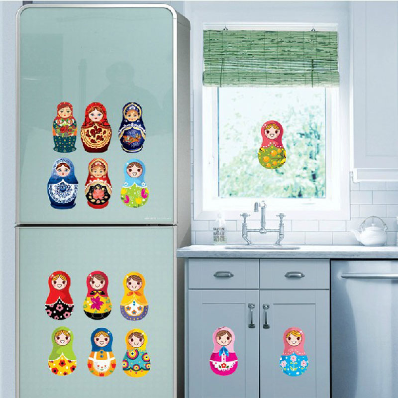 Removable Wall Decals Stickers Window Door Desk Refrigerator Decoration Russian Doll Stickers Fridge Magnets(China