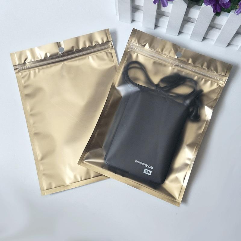 50 шт./лот, упаковочная сумка на молнии с прозрачной матовой поверхностью, сумка на молнии, сумка для хранения Золотой алюминированной пленки