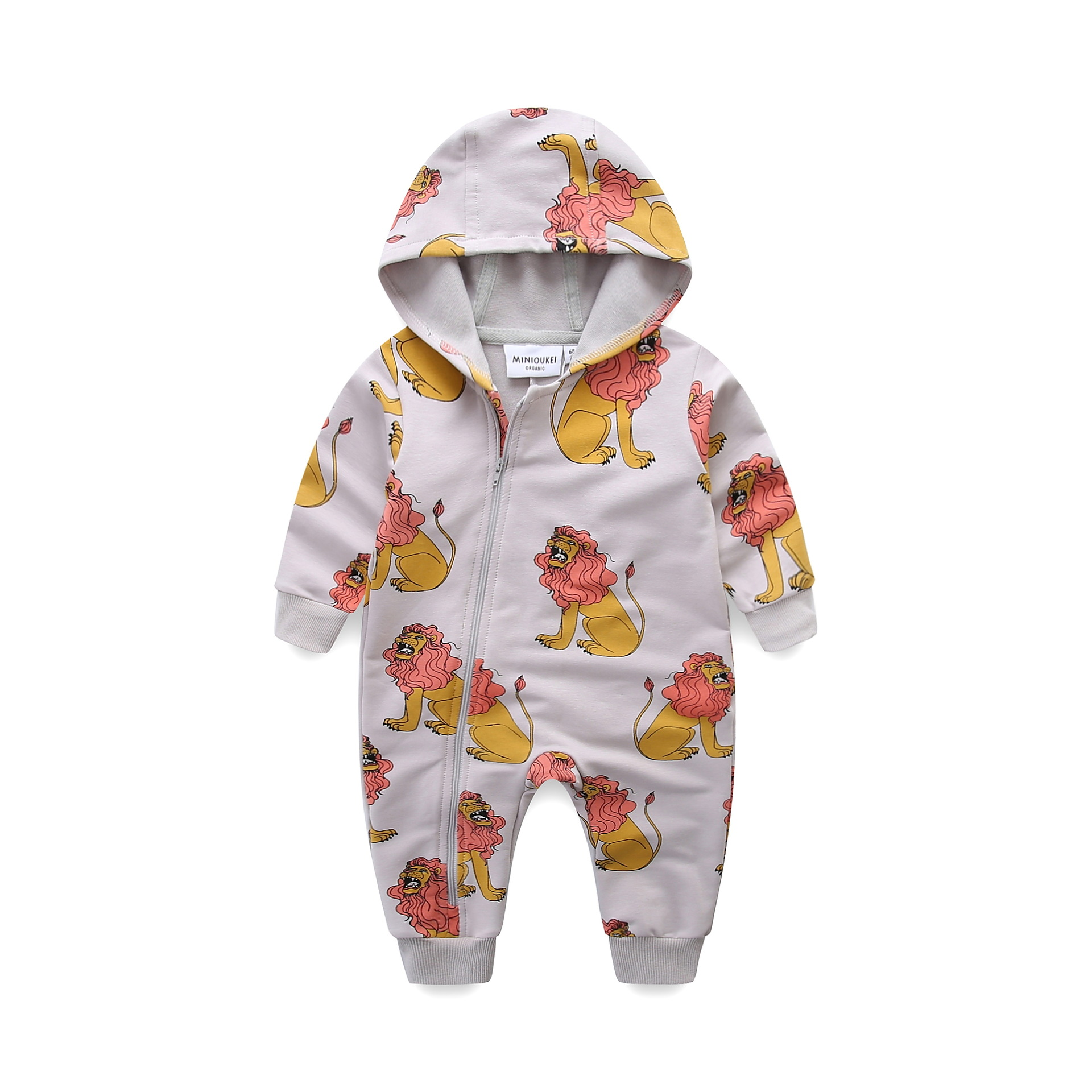 Free Drop Shipping 2018 Spring Baby Boys Girls Clothes Set Long-sleeve Lion Newborn Baby Hooded Romper Jumpsuit Roupas De Bebe