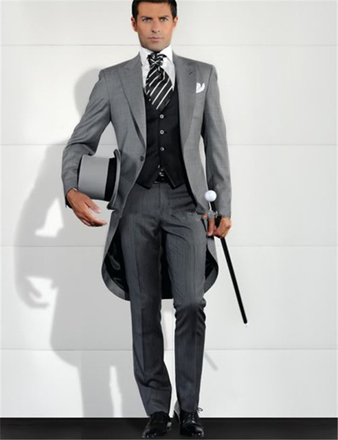2017 Neue Grau Manner Blazer Frack Groomsman Kostum Homme Lange