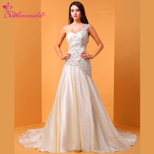 Alexzendra Champagne Flowers Applique Mermaid Wedding Dress