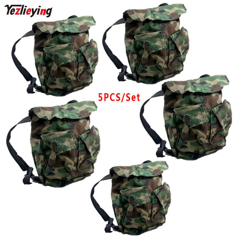 5PCS/Set 1/6 Scale Annex No texture Miniature Military Survival Backpack Model Jungle camouflage Fit 12 Inch Action Toys Figure