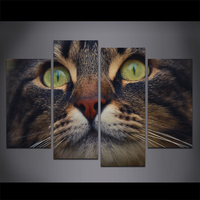 Wall Art Canvas Painting Animal Cat Poster Prints Closeup Eyes Whiskers Snout Wall Picture for Living Room 4 Panels/Al10134