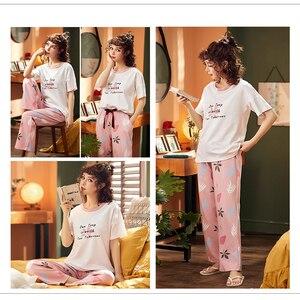 Image 3 - BZEL Conjunto de pijamas nuevos con letras estampadas para mujer, Camisón con estampado de letras, pantalones rosas, para dormir
