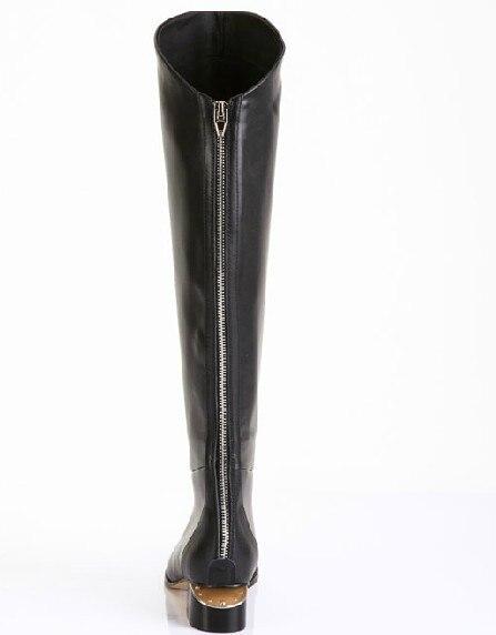 Online Shop back zip genuine leather flat black boots for women ...