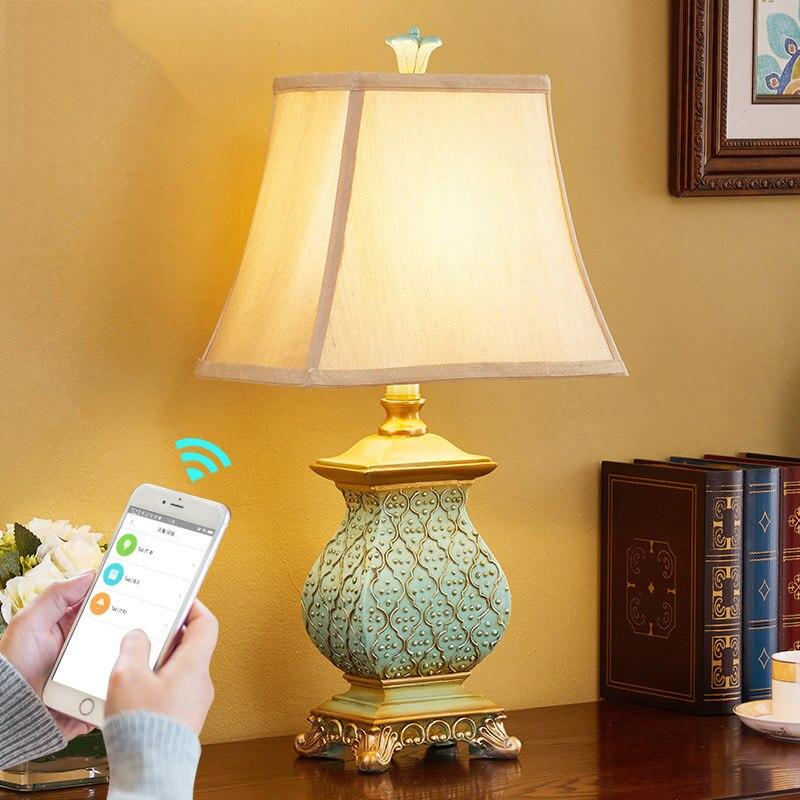 Ретро Страны настольная лампа 110 В 220 В роскошь спальня ночники Скульптура синий смола украшения лампы Abajur светодиодные