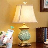 Retro Country Table Lamp 110V 220V Luxury Bedroom Bedside Lamp Sculpture Blue Resin Decoration Lamp Abajur Led