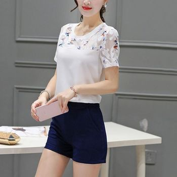 Summer Blouse Fashion Hollow Out Lace Hem Women Blouse And Tops Short Sleeve Top Women's Blouse 4