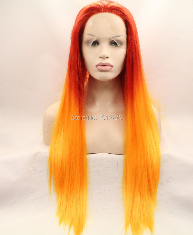 ФОТО orange hair wig synthetic straight hair lace front wigs for black women heat resistant wigs free shipping