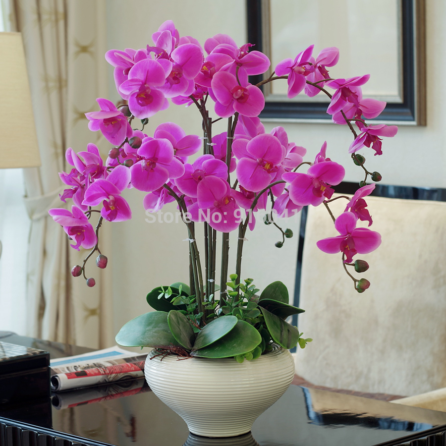 Indigo Real Touch Phalaenopsis Set High Simulation Orchids Decoration Flower Leaves Living Room Display Flower