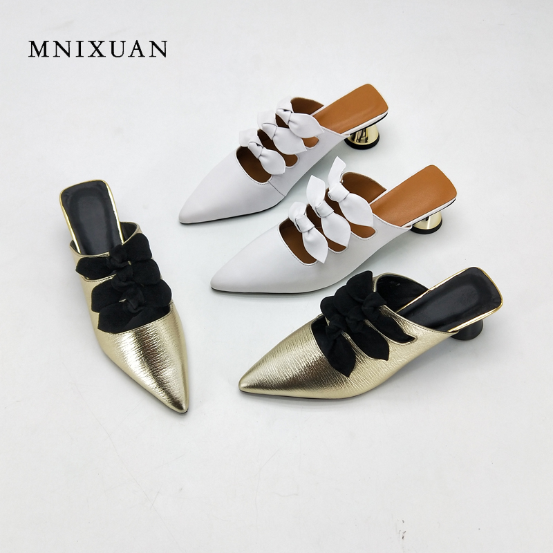 MNIXUAN  women slipper sandals genuine leather 2018 summer new sexy pointed toe butterfly-knot medium strange heels 5cm big size mnixuan women slippers sandals summer