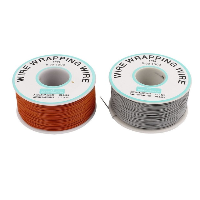 PCB Solder Gray Orange Flexible 0.25mm Core Dia 30AWG Wire Wrapping ...