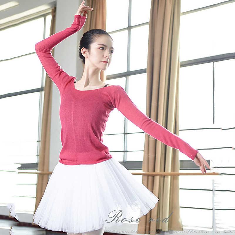 69378f205 150cm-175cm Adult Women Dancewear Ballet Tops Bailarina Clothing Girls  Dance Knitted Sweater Female Autumn