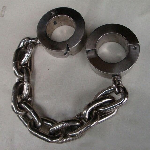 15 кг сверхмощные манжеты из нержавеющей стали для ног секс БДСМ Для женщин Связывание удерживающее устройство раб металлические гетры Фетиш взрослые секс игрушки