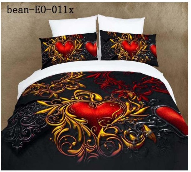 Black Red Exotic 100 Cotton Bedding Sets Queen Size Bedspread Duvet Cover Sheets Bed In A Bag Bedroom Quilt Linen From Home Garden On