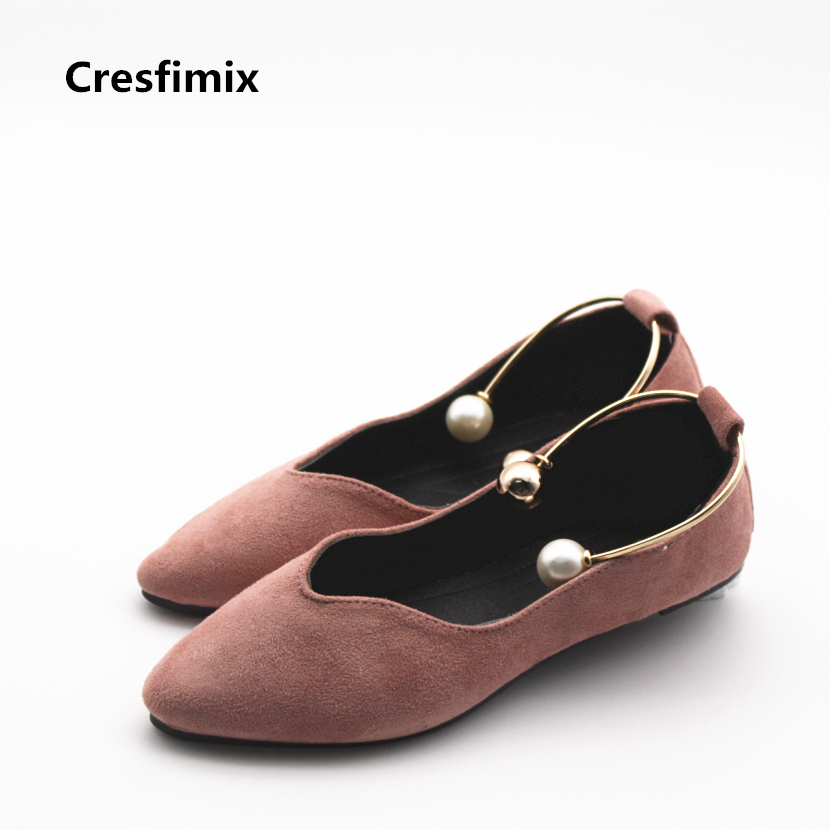 Cresfimix zapatos de mujer women cute spring & sumemr slip on flat shoes female comfortable sexy flats female pink flock shoes cresfimix zapatos de mujer women fashion pu leather slip on flat shoes female soft and comfortable black loafers lady shoes