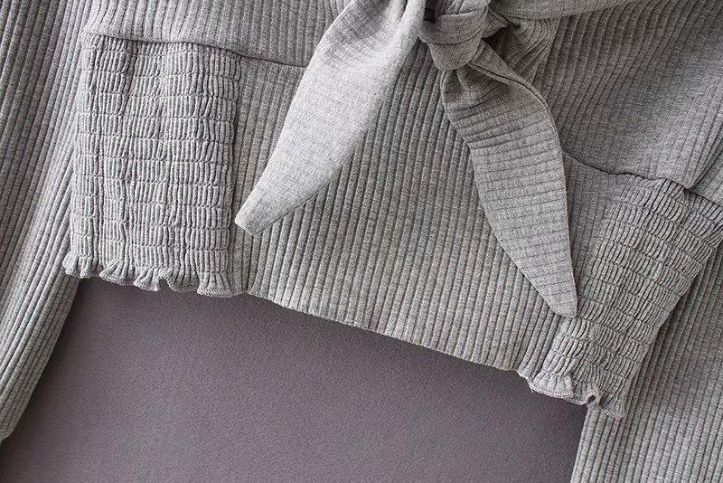 Espalda Blusa Pic Vintage Ocio Fondo As Mujeres De Cuadrado Bowknot Collar Gris Blusas Sin Ls2537 Corte Slim Mujer Casual Tejer Tops AXqOOxRw