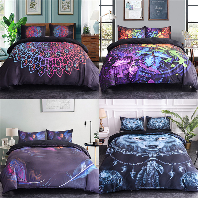 Boniu Luxury Bedroom 3D Mandala Dream Butterfly Feather Wolf With Dream Catcher Bedding Set 2 3pcs Boho Duvet Cover Queen Size in Bedding Sets from Home Garden