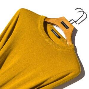 Image 2 - Мужской шерстяной Однотонный свитер с круглым вырезом, облегающий вязаный пуловер, Новинка осени 2019, 8 цветов, модная повседневная брендовая одежда
