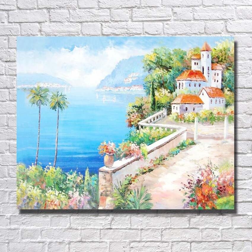 Modern Beautiful Sealandscape Wall Art Home Decor Living Room Wall Decor Handpainted Palette Knife Oil Painting No framed