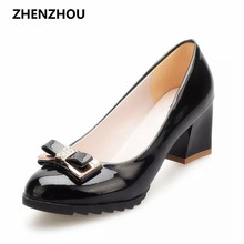 Free shipping 2016 women s bow shoes platform shallow mouth high thick heel brief ol leather