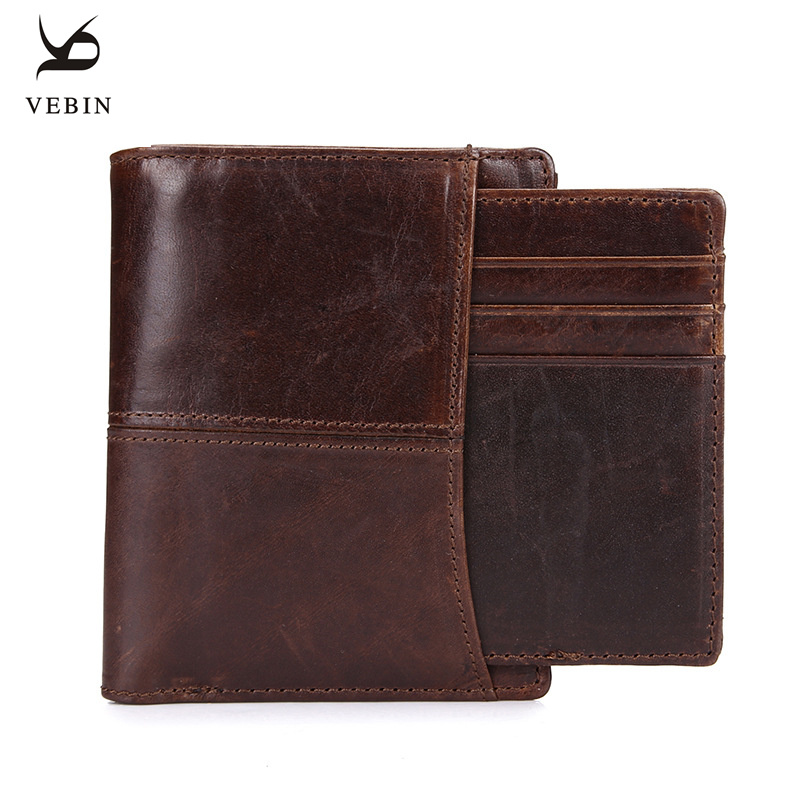 Vebin Mens Genuine Leather Wallet Short Wallet Leather Wax Oil Purse Money Pocket Male Purses Wallet