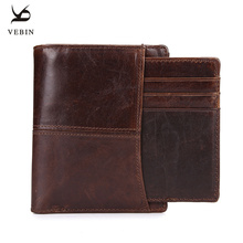 Vebin Mens Genuine Leather Wallet Short Wallet Leather Wax Oil Purse Money Pocket Male Purses Wallet Card Passport Holder