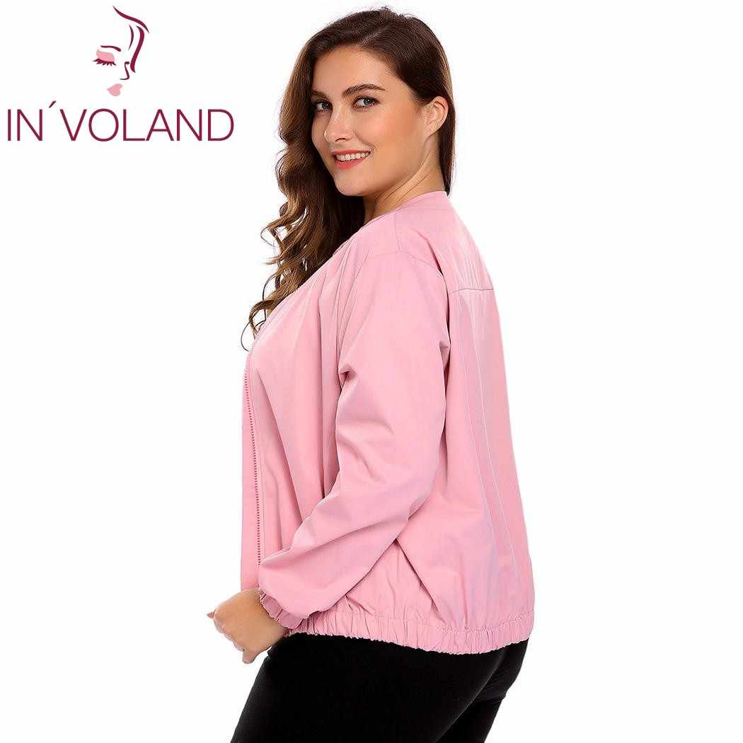 f593fa980e0 IN VOLAND Big Size Women Bomber Jacket Autumn Fashion Mock Collar Long  Sleeve Zipper Feminino Large Coat Tops Plus Size L-4XL