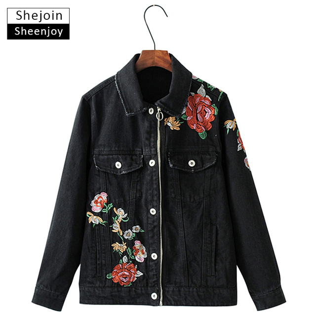 Online Shop ShejoinSheenjoy Women Vintage Floral Embroidered Denim ...