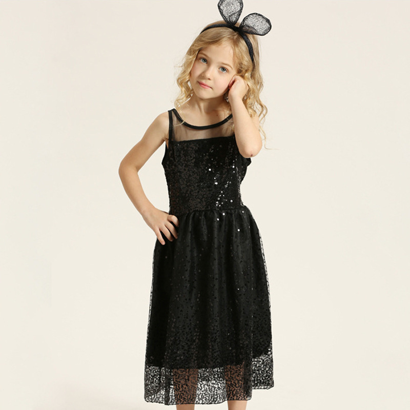 Girls Sleeveless Vest Dress Black Sequined Bling Bling Party Evening Dresses Princess Carnival Costume Children Summer Clothing 2017 summer girls vest dresses cute sequined kids sleeveless dresses for girls new 1 7t princess dress fit little child