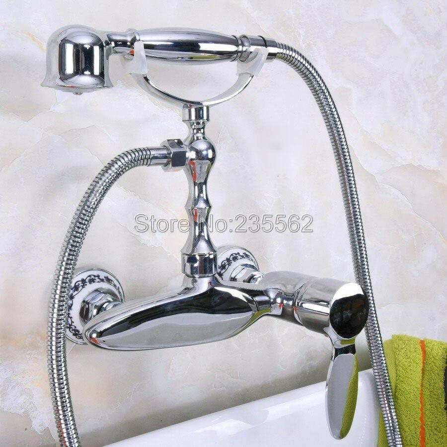 Chrome Wall Mounted Clawfoot Bathtub Faucet Telephone Style Handheld Showe lna178Chrome Wall Mounted Clawfoot Bathtub Faucet Telephone Style Handheld Showe lna178