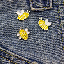 The New Brooch Cartoon Bee Enamel Broches Gold yellow Color Shirt Enamel Needle Sweater Accessories Brooch Pin Badge(China)