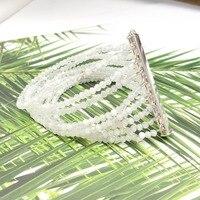 LiiJi уникальный натуральный белый лунный камень 925 застежка из стерлингового серебра Модный Ювелирный Браслет для женщин/Матери/подарок дев