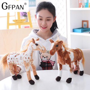 Image 4 - 1pc 60 30cm Simulation Horse 5 Styles  Stuffed Animal Plush Dolls High Quality Classic Toys For Children Gift