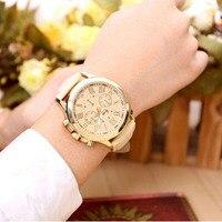 Feitong New Fashion Women Dress Watch Bracelet Geneva Roman Numerals PU Leather Analog Quartz Wristwatch Casual