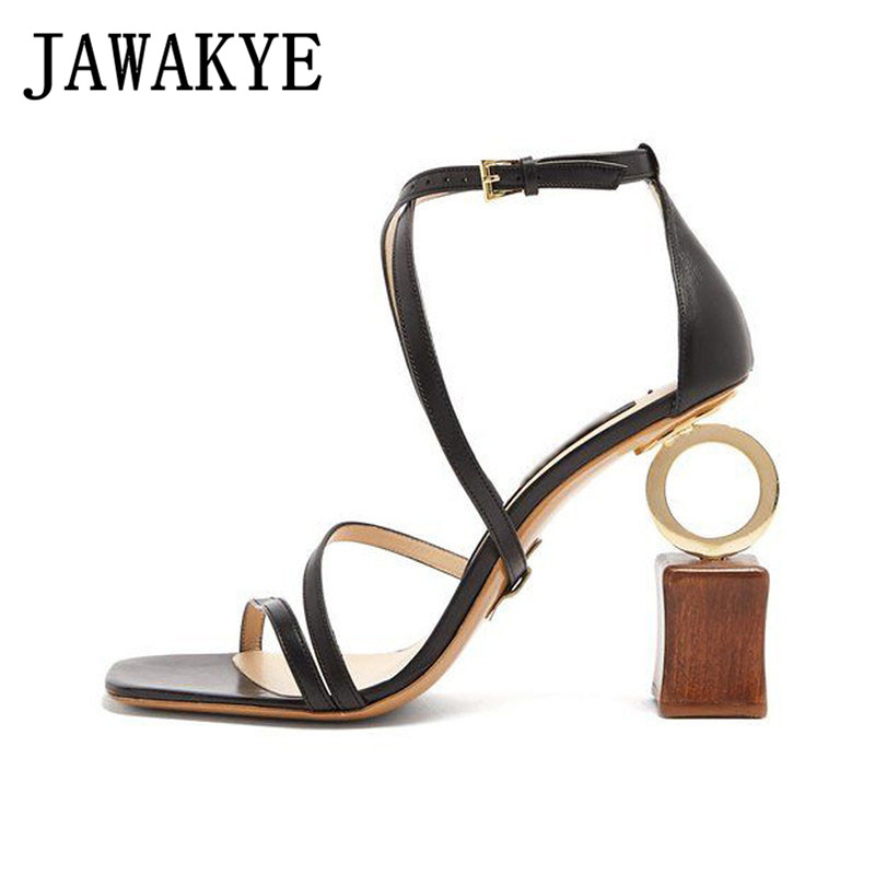 Asymmetric Heel Personalized Sandals Women Cross Tied Ankle Strap High Heels Gladiator Sandals Party Shoes woman