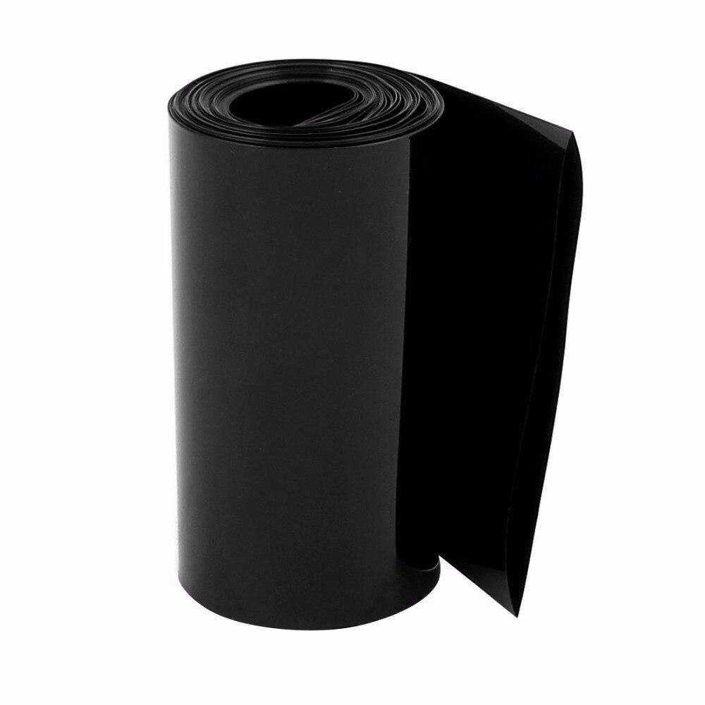 Uxcell gorąca sprzedaż 1 sztuk 85mm płaskie szerokość 1 M długość PVC Heat Shrink Tube czarny dla 18650 baterii opakowanie obudowa izolacyjna termokurczliwe
