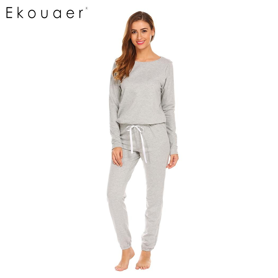 Ekouaer Women Casual Sleepwear   Pajamas     Set   Round Neck Long Sleeve Solid Drawstring Top & Pants   Pajamas   Nighties Female Homewear