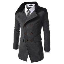 winter fashion long trench coat men good quality double brea