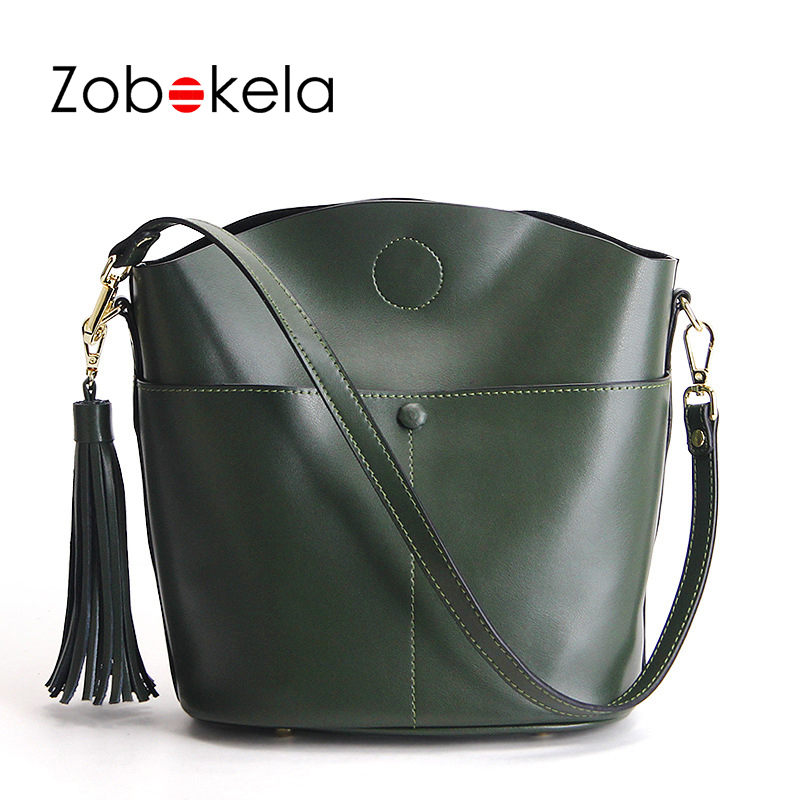 ZOBOKELA Genuine Leather Bag Handbag Women Messenger Bags Tassel High Quality Women Shoulder Bags Handbags Luxury Brand Bag zobokela genuine leather women bag handbags designer women messenger bags leather shoulder bag handbag ladies bag women